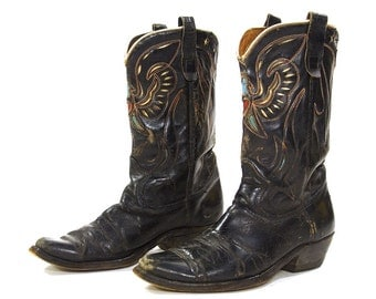 50s Texas Eagle Cowboy Boots / Vintage 1950s Texas Boot Company Western Riding Boots / Thunderbird Cut Out / Black Leather / Women's Size 9