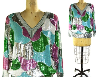 GLAM Silk Sequin Blouse by E Sister Max / Unworn Vintage 1980s NOS Vintage Sequinned Blouse in Iridescent Silver Pink Turquoise & Green