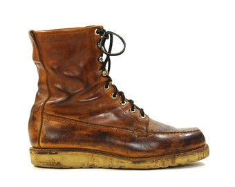 Chippewa Lace Up Ankle / Roper / Packer / Work Boots in Brown Leather / Men's Size 8.5 / Women's Size 10