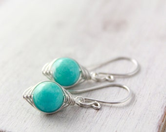 Wrapped Amazonite Silver Earrings