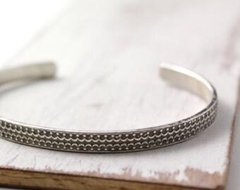 Double Crown Oxidized Silver Patterned Cuff Bracelet