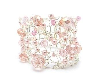 Wide Cuff, Silver Tone Cuff, Knitted Wire, Wire Crochet, Beaded Bracelet, Silver Cuff, Swarovski Crystals, Swarovski Pearls, by Durango Rose