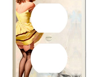 Double Socket Plate - Vintage Gil Elvgren Pin-Up Girl In Yellow Dress