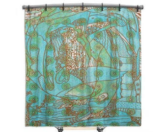 Turquoise Shower Curtain, Beach decor, Shower curtain, BOHO shower curtain, Bath Decor, Hippie chic, Funky Art, artsy shower curtain