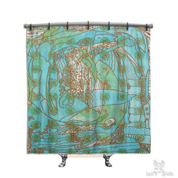 Cortina de baño turquesa playa decoración cortina de por ingridsart