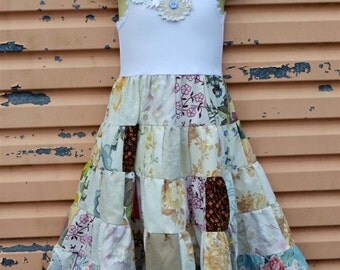 SALE Girls Antique Floral Patchwork dress Size 3