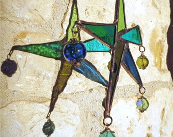 Suncatcher, Stained Glass Star, Abstract Star, Blue and Green Stained Glass Carnival Star, Star Suncatcher