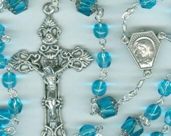 March Birthstone Rosary ~ Aquamarine Glass