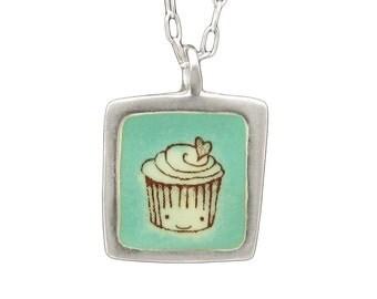 Happy Birthday Necklace - Reversible Cupcake Necklace
