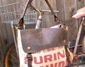Purina Chowder  - Vintage Seed Sack Leather Satchel Bag - Americana Leather Canvas & Leather Bag... Selina Vaughans