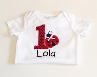 Ladybug 1st Birthday Onesie- Personalized- Baby Girl