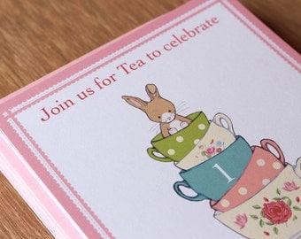 Invitations - Friends for Tea - Bunny Tea Party - 10 x custom printed