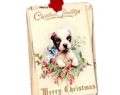 Christmas Gift Tags , Puppy Tags , Dog Tags , Merry Christmas , Dog with Mistletoe , Dog with Holly , Vintage Style Tags , Blue Bow