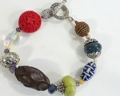 Boho Asian Vibe Bead Bracelet Wood, Ceramic, Cinnabar, Coppeer, Jasper, Glass - Eclectic Wrist Candy Ladies Hippie Bracelet