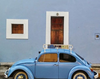 Baby Blues in Merida. A Spanish Mexican Colonial House and matching VW Beetle.