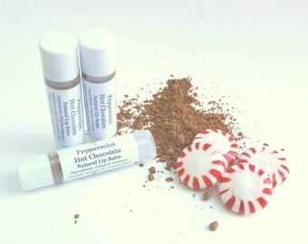 Peppermint Hot Chocolate, Natural Lip Balm, Organic Oils, No Artificial Colors, Tube Lip Balm, Clear Lip Balm, Stocking Stuffer for Women