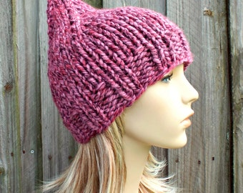 Pink Womens Hat - Pink Gnome Hat - Wild Strawberry Mixed Pink Knit Hat - Pink Hat Pink Beanie Womens Accessories Winter Hat - READY TO SHIP
