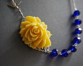 Statement Necklace,Yellow Flower Necklace,Navy Blue Necklace,Yellow Necklace,Nautical Necklace,Bib Necklace,Bridesmaid Gift,Beaded Necklace