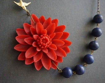 Statement Necklace,Bridesmaid Gift,Beaded Necklace,Red Flower Necklace,Summer Bridesmaid Jewelry,Navy Blue Necklace,Nautical Jewelry,Gift