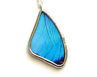 Real Butterfly Wing Necklace. Blue Morpho Necklace. Blue Butterfly Necklace. Aqua Aura. Butterfly Necklace. Morpho Menelaus Necklace