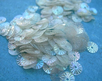 Vintage Sequins FROSTY CLEAR STARBURST Couture rainbow finish 1/4 strand 5mm lot 150-200