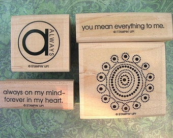 Lot of 4 Stampin Up Retired Wood Mounted Rubber Stamps UNUSED Sayings Always