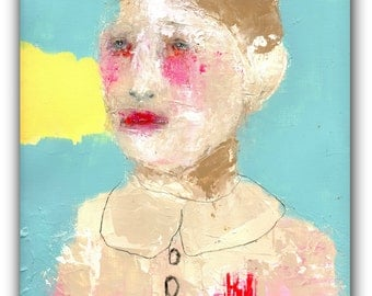 """Original Painting , Acrylic Mixed Media ,Abstract Portrait Painting with Simple Embroidery  - """"Sought Grace"""""""