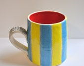Striped Green, Blue and Red Stoneware Mug with Red Interior