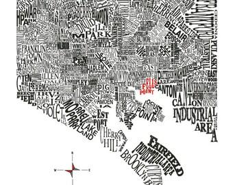 Customizable - Baltimore Neighborhood Map 11x14in Print