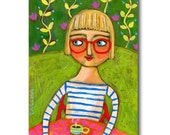 SALE - ORIGINAL acrylic painting of a FRENCH girl in a cafe mixed media artwork by Tascha