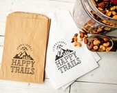 Wedding Favor Bags - Wedding Favor Trail Mix  - Happy Trails - White Wax Lined Favor Bag - Mountain Lovers - 20 White Favor Bags included