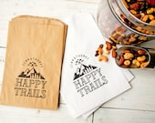 Wedding Favor Bags - Personalized Favor Trail Mix  - Happy Trails - White Wax Lined Favor Bag - Mountain Lovers - 20 White Favor Bags
