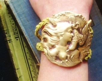 Sea Goddess Statement Bracelet Cuff Antiqued Brass and Green Suede Adjustable Bracelet