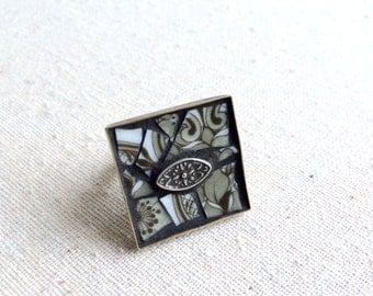 Vintage Broken China Mosaic Ring