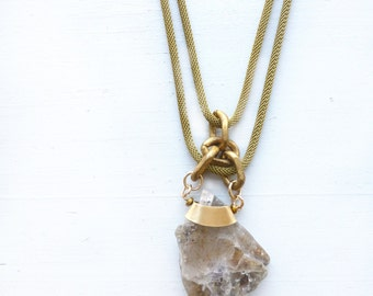 Rutilated quartz stone slab necklace//Lapidary//Golden Rutile//Brass Snake Chain necklace//Brass rope//Energetic crystal pendant//ooak