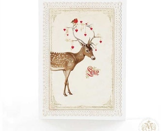 Deer card, love card, Valentine's day card, red hearts, Christmas card, friendship card, encouragement card