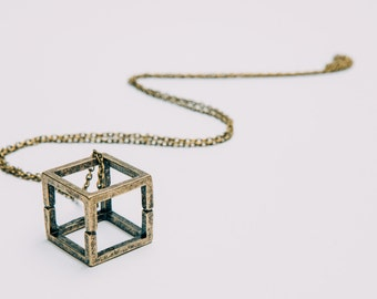 Minimalist and Modern Geometric Brass Cube Necklace