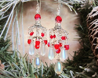 Peppermint Ice - Frosted Iridescent Red and White Jhumka Inspired Chandelier Earrings