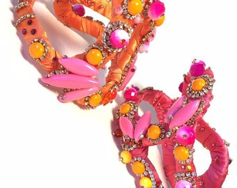 Reserved for Joanne , Multicolor Statement Bracelet, rhinestone fantasy couture, pink and orange tones