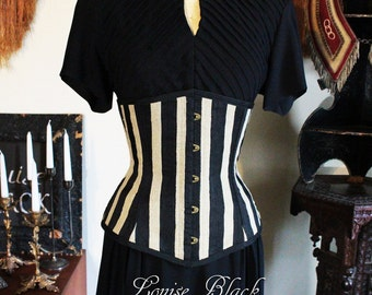 SIze Small Limited Edition Theda Bara Egyptian Revival Striped Silk Dupioni Corset Cincher with Busk by Louise Black