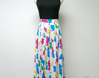 The Villager . 80s 90s colorful pleated mid-length skirt . size 10 / waist 27""