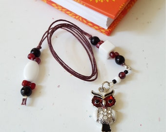 Beaded Bookmark Sparkle Owl/ Dark Red, White, And Black/ Glass And Acrylic Beaded Cord With Metal Charm/ Handmade Book Thong/ Journal Marker