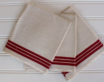 Vintage Linen Towel - Nubby Linen with Red Border - Unused Kitchen Towel - Homespun - Farm Farmhouse Country Organic Woven Natural