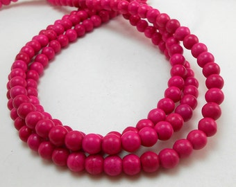 68 Pink Howlite Beads 6MM (H7023)