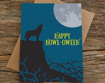 halloween card / wolf moon
