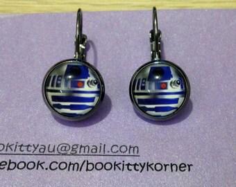 Star Wars R2D2 Gunmetal Leverback Dangle Earrings 12mm