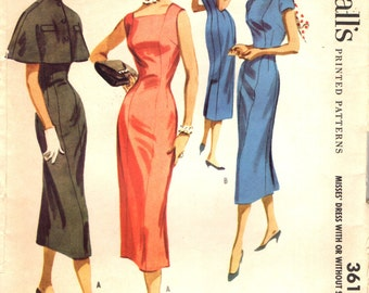 McCall's 3614 KNOCK-OUT SHEATH  1950s With Cape Featured in Mademoiselle Magazine ©1956