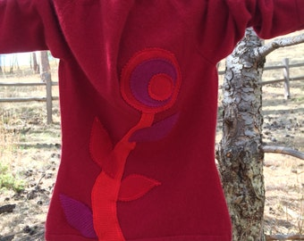 Salvation:Sweater Mod Posie Customize Your Sweater Appliquéd up cycled recycled sweater