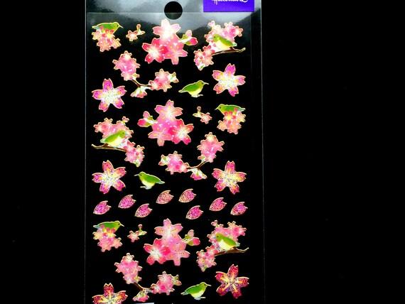 Cherry Blossom Stickers - Shiny Sparkly Flower Stickers - Bird Stickers - Pink Stickers - Japanese Stickers   (S283)