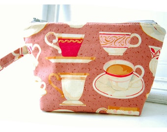 MakeUp Bag Coffee Tea Cup brown tea Accessory Cosmetic Bag coffee Gift clutch purse Make Up Bag Cosmetic Gift gifts Bridesmaid Accessory bag